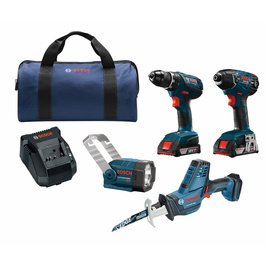 Bosch Compact Tough 4-Tool 18-Volt Lithium Ion (Li-ion) Cordless Combo Kit with Soft Case