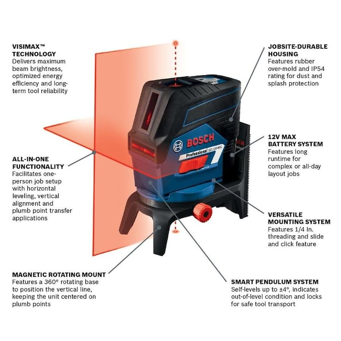 Bosch Visimax 100 Ft Red Beam Self Leveling Cross Line Cross Laser Level With With With Plumb Points Points Points With Case In The Laser Levels Department At Lowes Com