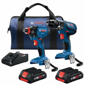 Bosch 2-Tool Core18v Power Tool Combo Kit with Soft Case (Charger Included and 2-Batteries Included)