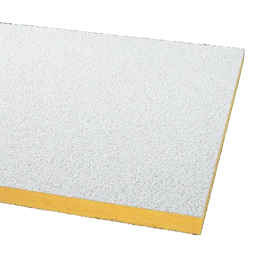 Armstrong Ceilings (Common: 24-in x 24-in; Actual: 23.719-in x 23.719-in) Painted Nubby 24-Pack White Textured 15/16-in Drop Acoustic Panel Ceiling Tiles