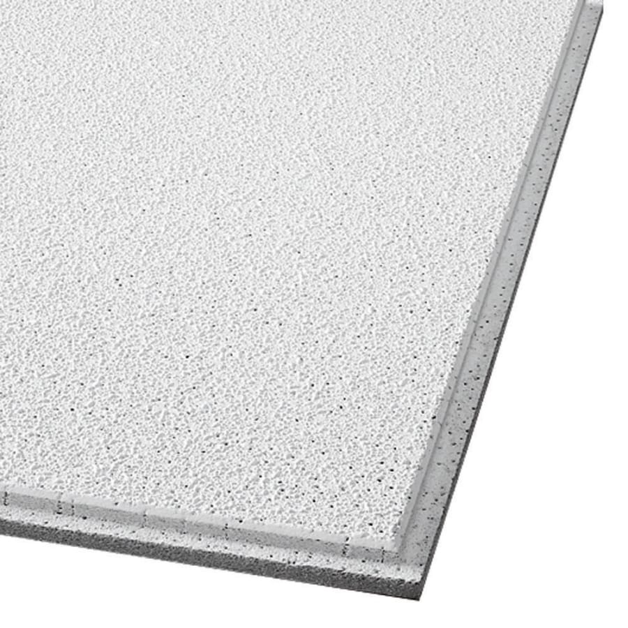 Armstrong Ceilings (Common: 24-in x 24-in; Actual: 23.745-in x 23.745-in) Georgian 16-Pack White Textured 9/16-in Drop Acoustic Panel Ceiling Tiles