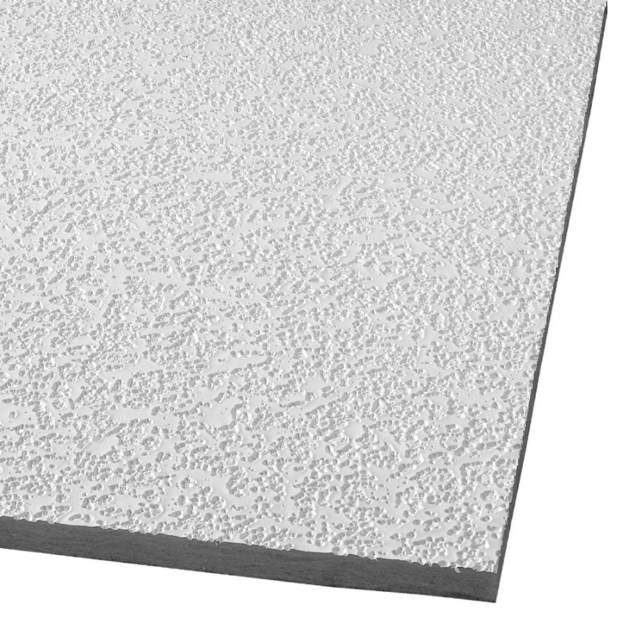 Armstrong Ceilings (Common: 48-in x 24-in; Actual: 47.719-in x 23.719-in) Random Fissured 16-Pack White Fissured 15/16-in Drop Acoustic Panel Ceiling Tiles