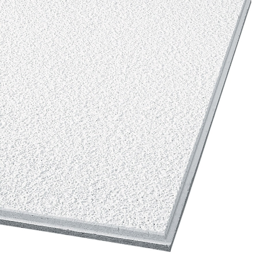 Armstrong Ceilings (Common: 48-in x 24-in; Actual: 47.735-in x 23.735-in) Tundra 8-Pack White Textured 15/16-in Drop Acoustic Panel Ceiling Tiles