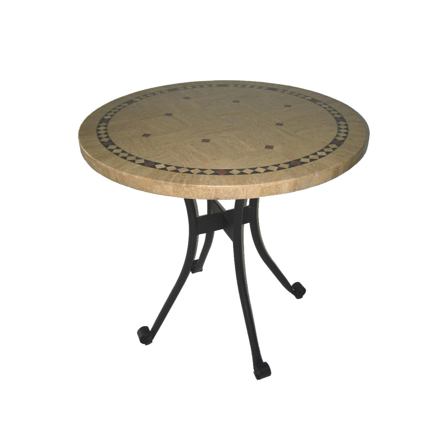 Garden Treasures Key Largo Round Natural Stone Patio Table
