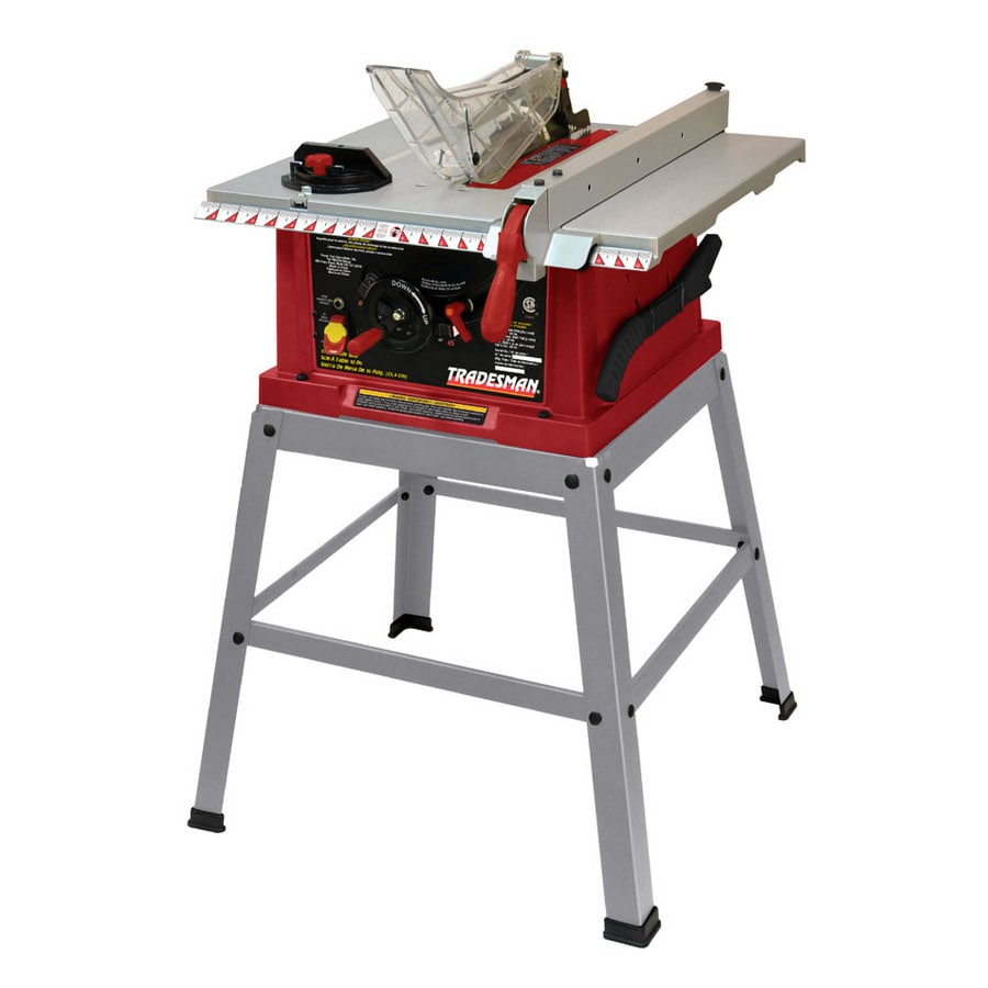 shop tradesman 10 table saw with leg set at