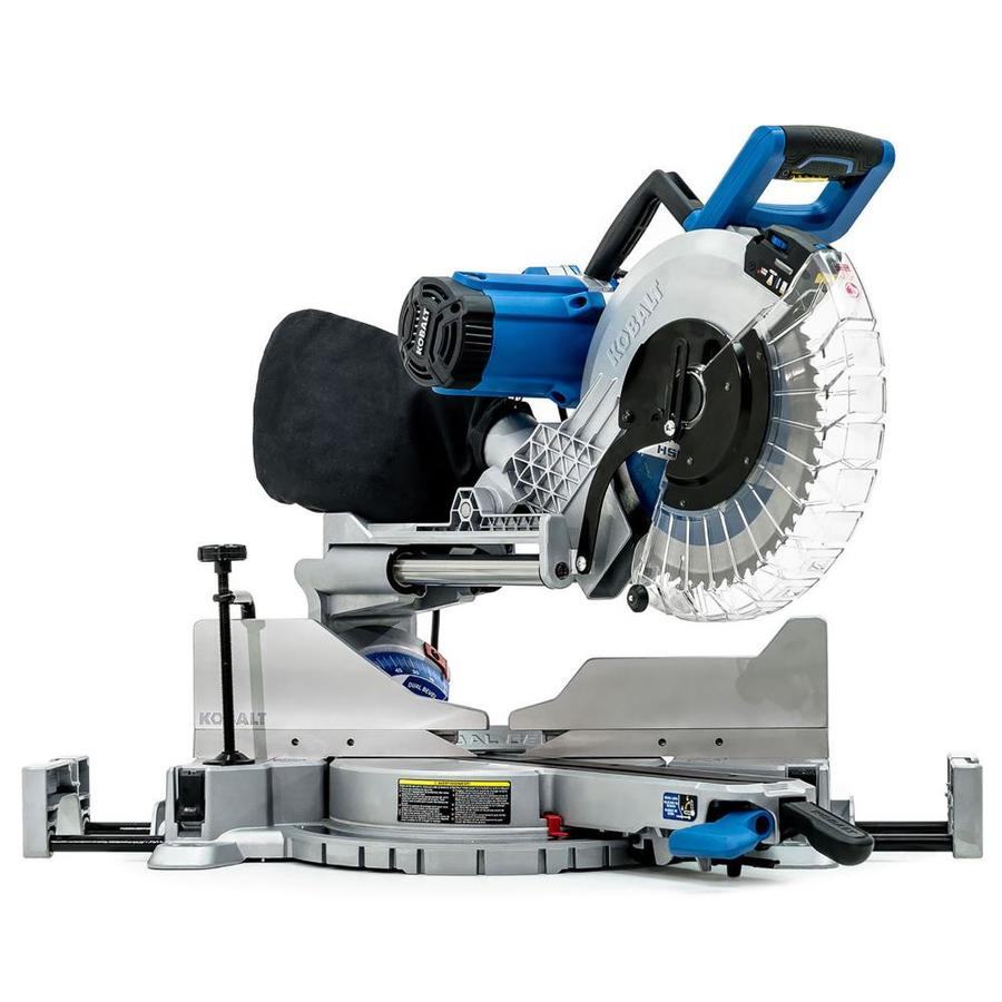 kobalt 12 in 15 amp dual bevel sliding laser compound miter saw at