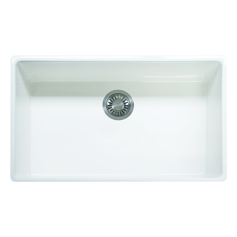 Franke Farm House 20-in x 33-in White Single-Basin Fireclay Undermount ...