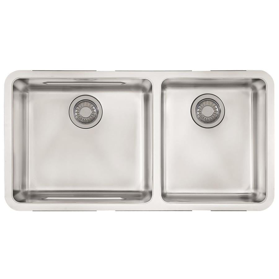 Franke Kubus 17.9375-in x 34.5-in Double-Basin Stainless Steel Undermount Residential Kitchen Sink
