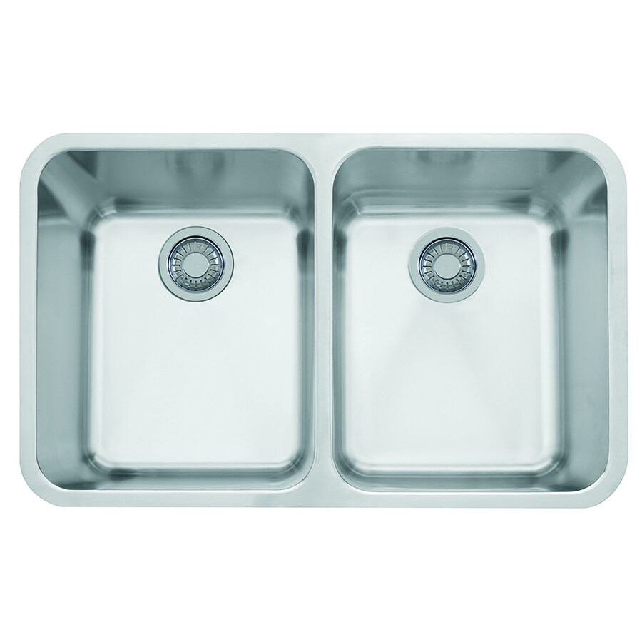 Shop Franke Largo 31.3125-in x 19.5-in Stainless Steel Double-Basin ...