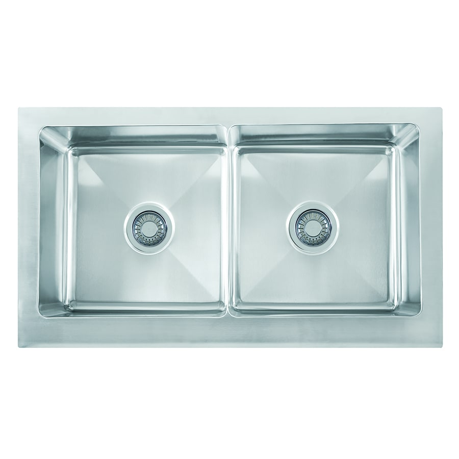 Franke Bar Sink : Shop Franke Manor House 20.875-in x 36-in Stainless Steel Double-Basin ...