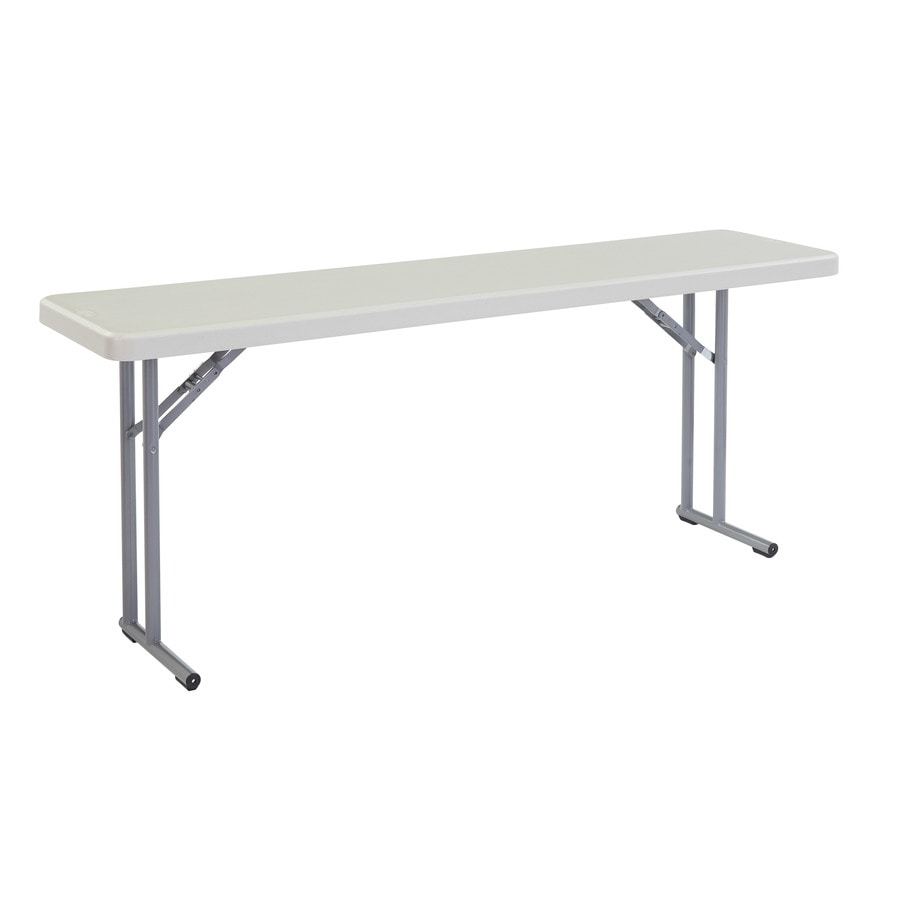 National Public Seating 72-in x 18-in Rectangle Steel Grey Folding Table