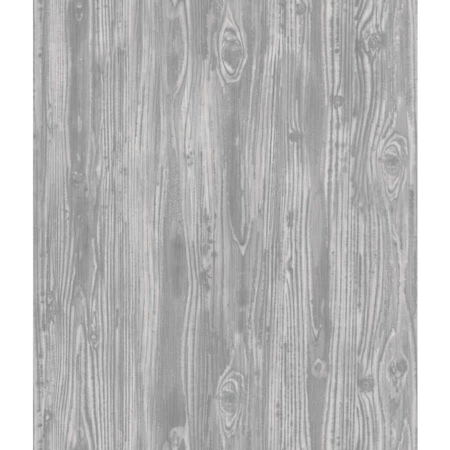 Shop tempaper textured 56 sq ft pewter vinyl textured wood for Vinyl peel and stick wallpaper