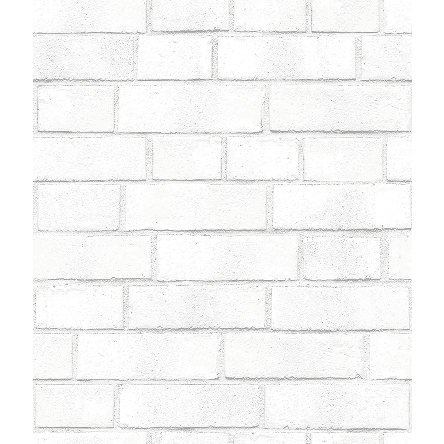 Tempaper Textured White Vinyl Textured Brick Wallpaper