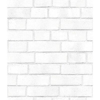 Tempaper Textured 56 Sq Ft White Vinyl Textured Brick Peel
