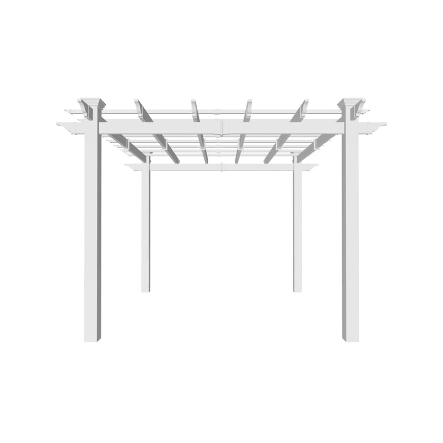 New England Arbors 106-in W x 106-in L x 94.75-in H White Freestanding Pergola