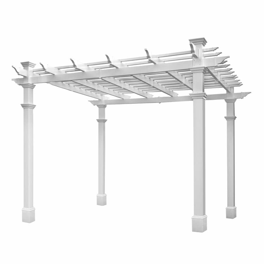 Shop New England Arbors White Vinyl Freestanding Pergola