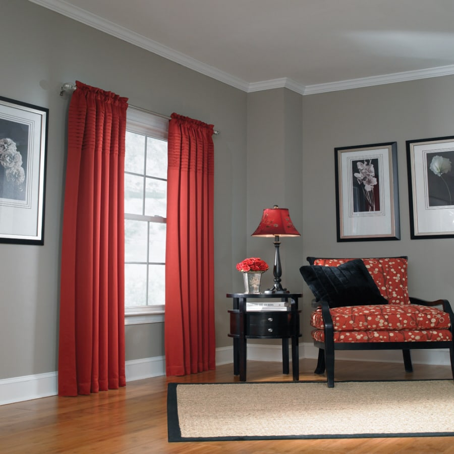 Shop allen roth lincolnshire 95 in red polyester rod pocket single curtain panel at - Match colors living bedroom ...