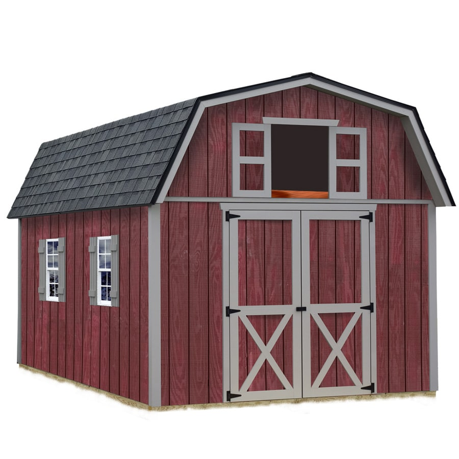 Best Barns (Common: 10-ft x 12-ft; Interior Dimensions: 9.42-ft x 11.17-ft) Woodville without floor Gambrel Engineered Storage Shed (Installation Not Included)