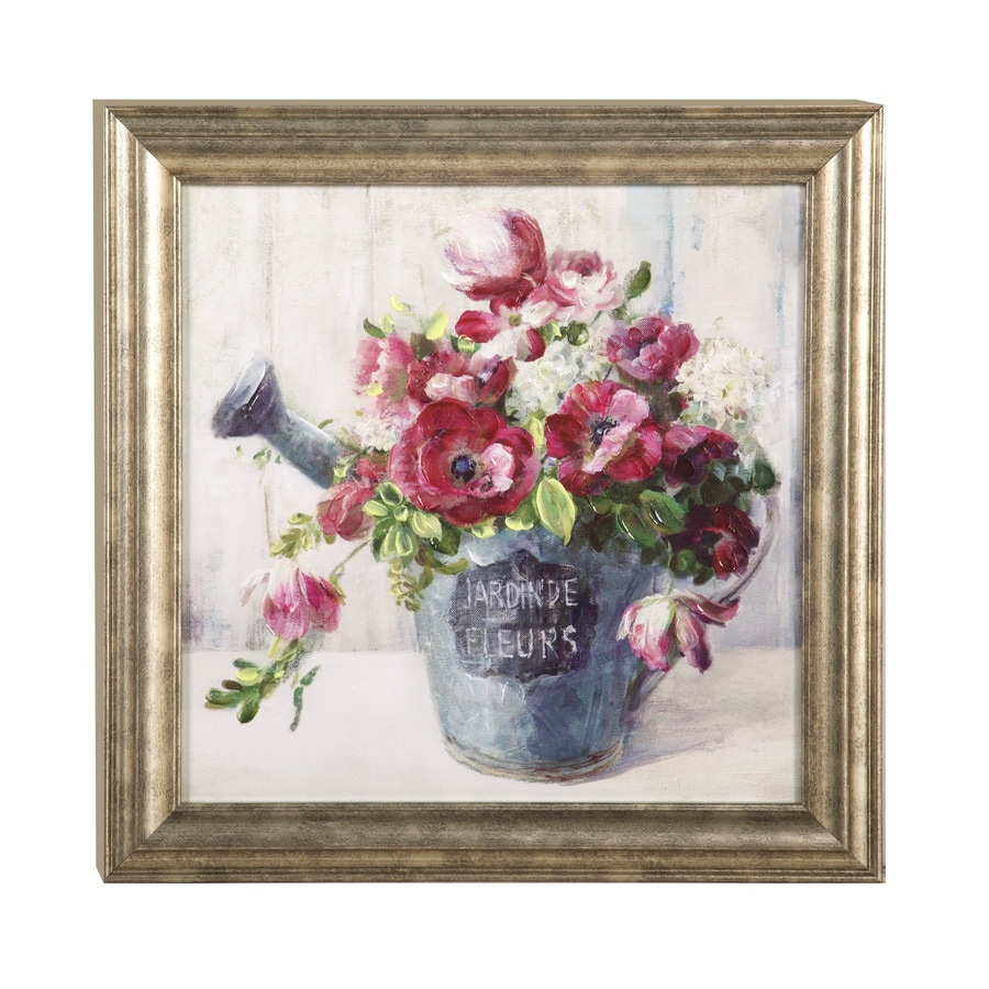 18-in W x 18-in H Framed Plastic Floral Print Wall Art
