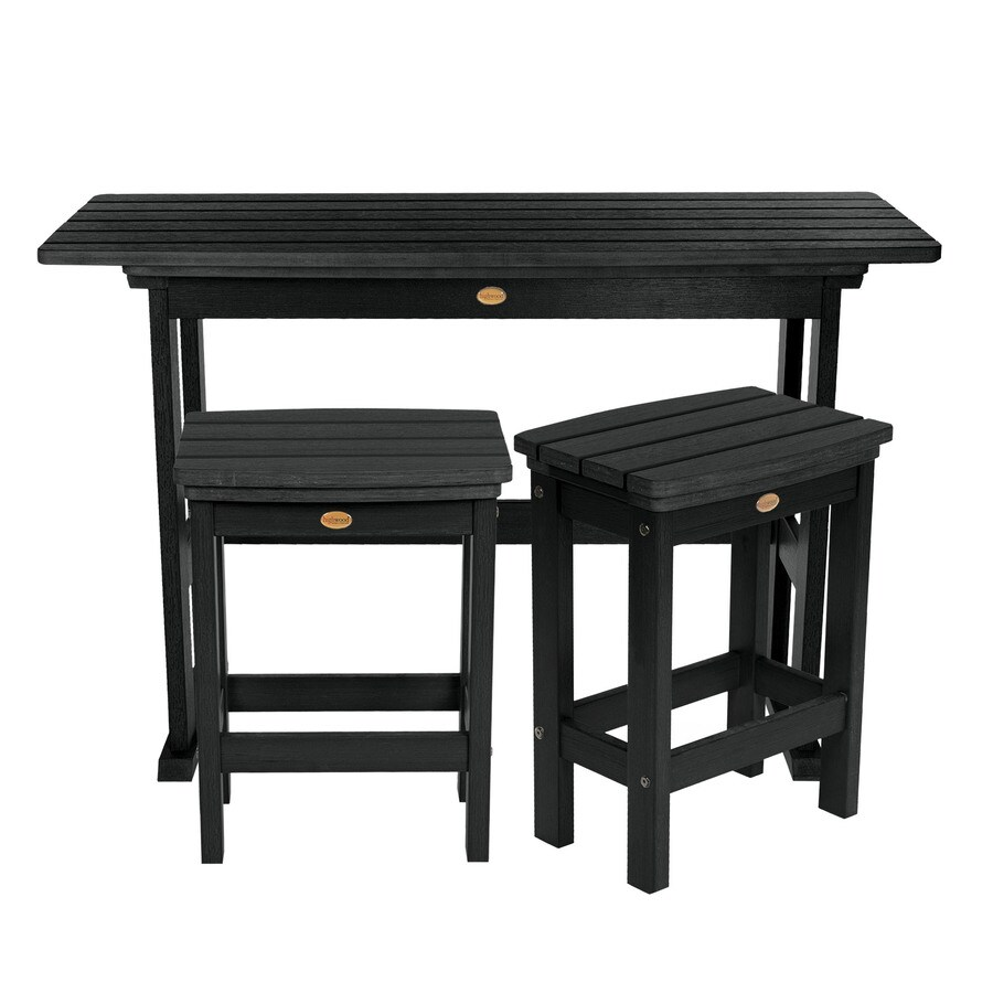 Highwood The Lehigh Collection 3 Piece Black Frame Bistro Patio Set With Bistro In The Patio Dining Sets Department At Lowes Com
