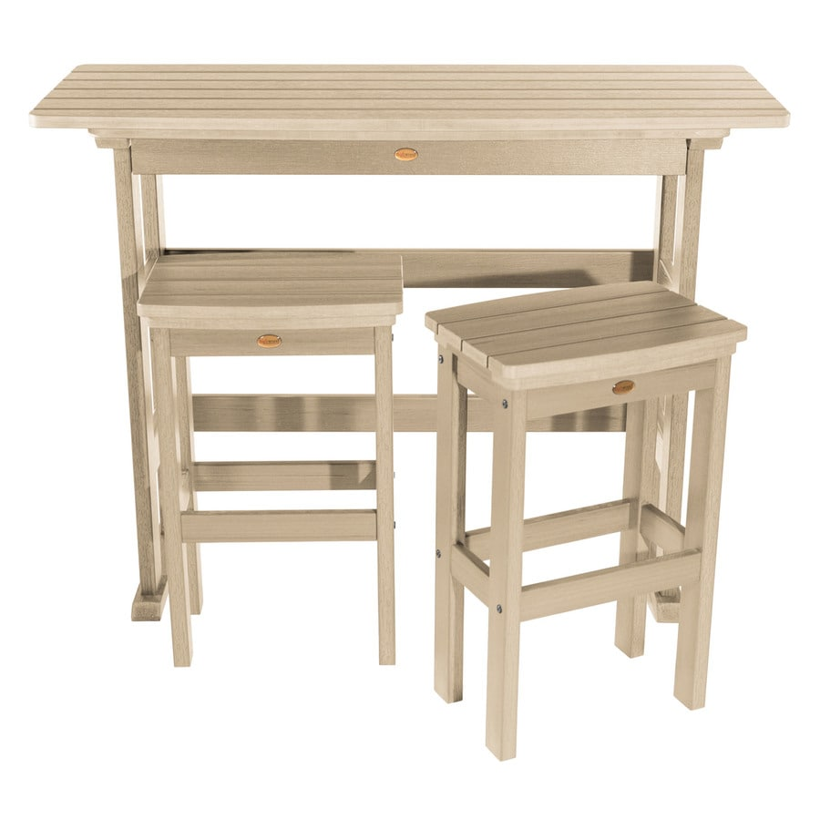 Highwood The Lehigh Collection 3 Piece Tan Frame Bar Height Patio Set With Bar Height In The Patio Dining Sets Department At Lowes Com