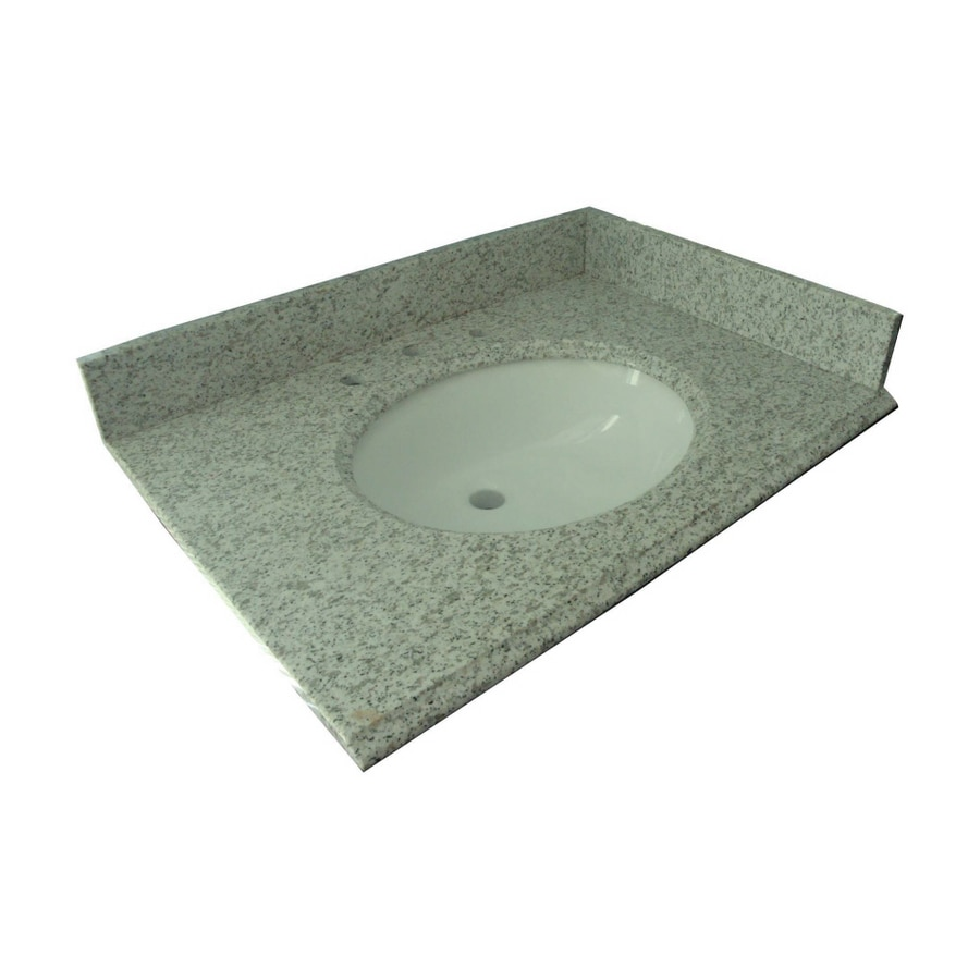 Allen + Roth Mission White Granite Undermount Bathroom Vanity Top (Common:  43 In