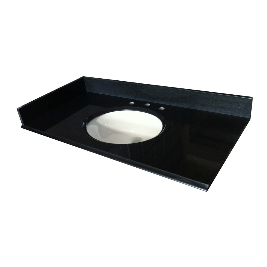 Shop Allen Roth Black Absolute Granite Undermount Bathroom Vanity Top Common 43 In X 22 In