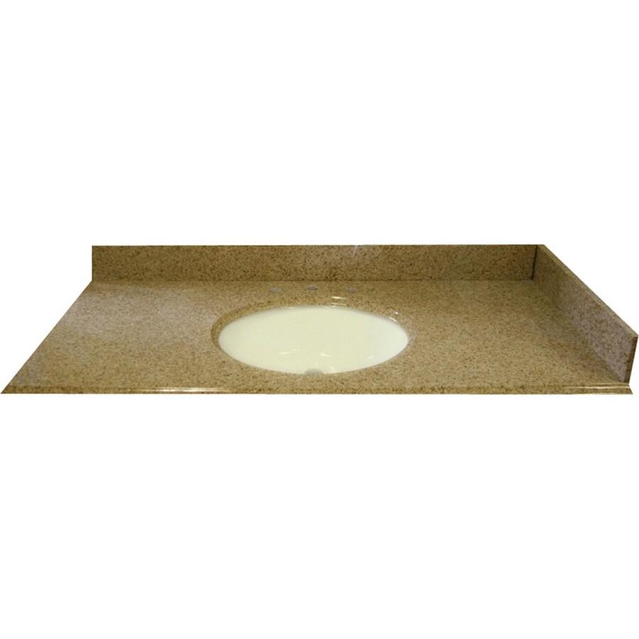 Shop Allen Roth Desert Gold Granite Undermount Bathroom Vanity Top Common 43 In X 22 In