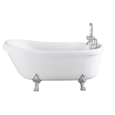 66 9 In White Acrylic Oval Right Hand Drain Freestanding Whirlpool Bathtub With Faucet Included