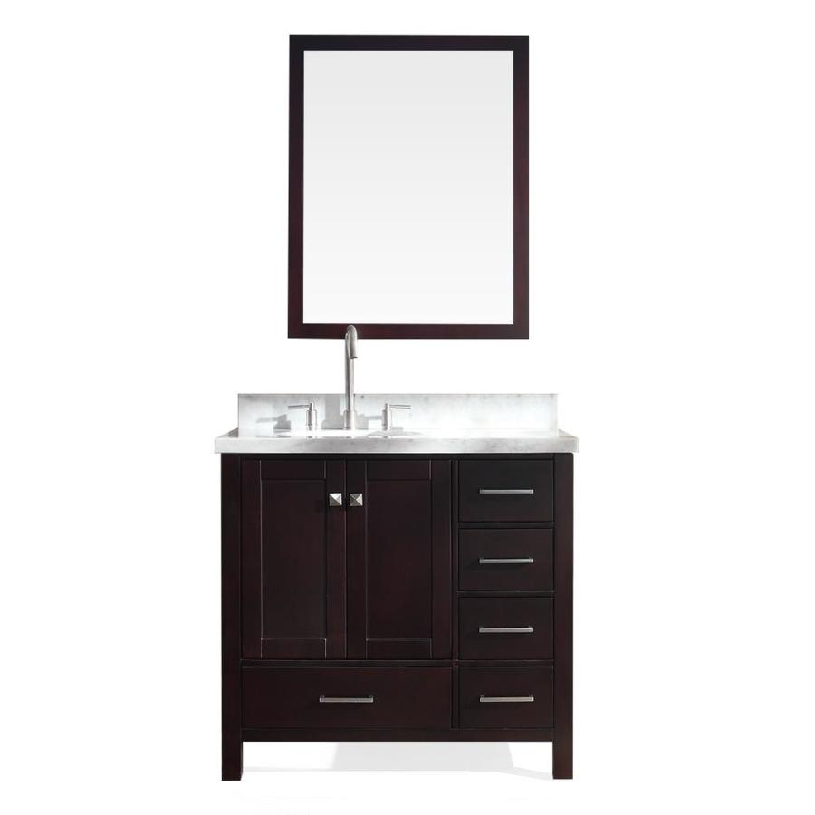 ARIEL Cambridge 37-in Espresso Undermount Single Sink Bathroom Vanity with Natural Marble Top (Mirror Included)