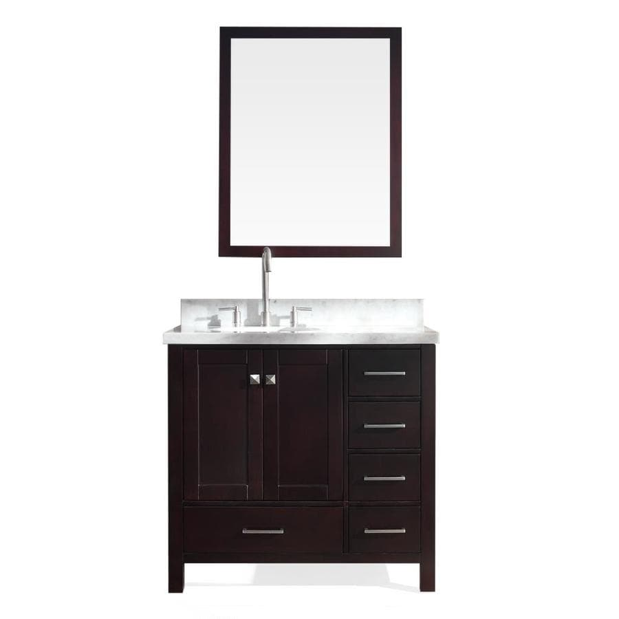 ARIEL Cambridge Espresso Undermount Single Sink Bathroom Vanity with Natural Marble Top (Common: 37-in x 22-in; Actual: 37-in x 22-in)