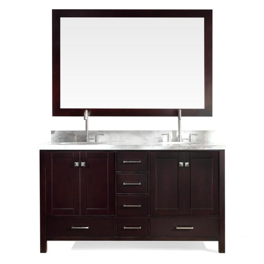 ARIEL Cambridge Espresso 61-in Undermount Double Sink Asian Hardwood Bathroom Vanity with Natural Marble Top (Mirror Included)
