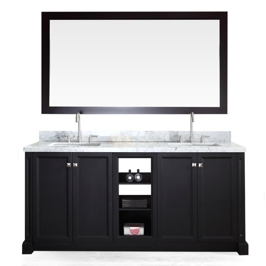 Shop ariel westwood black undermount double sink bathroom vanity with natural marble top common for Bathroom vanity double sink marble top