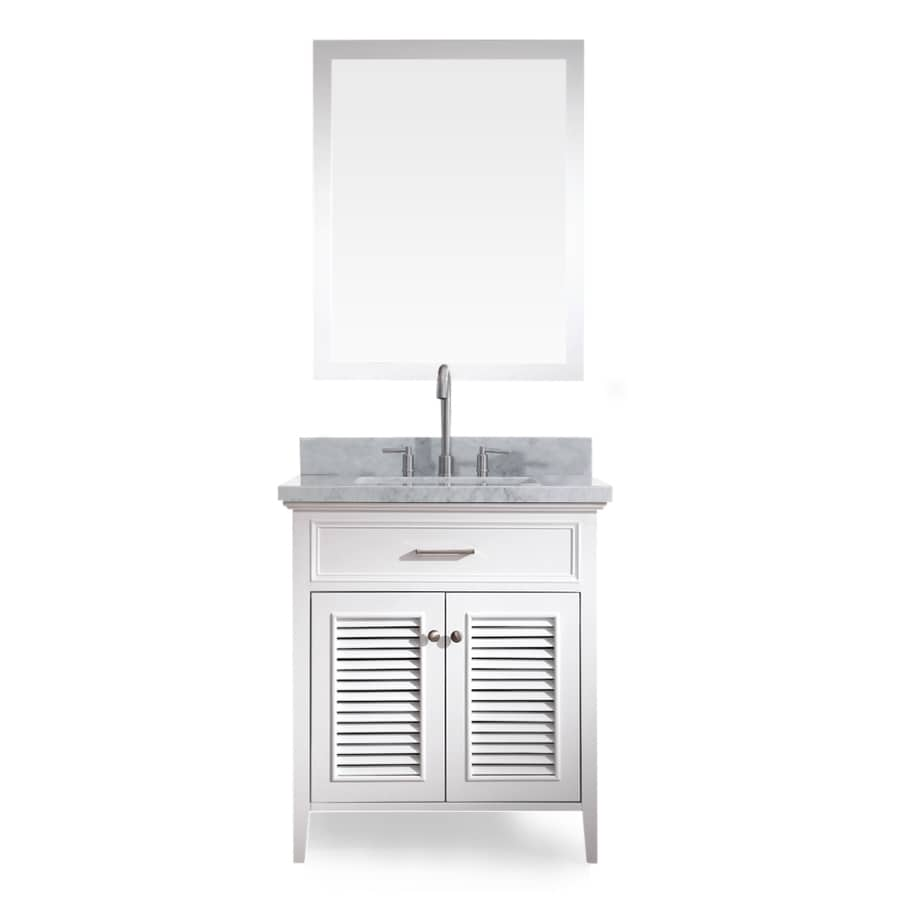 ARIEL Kensington White 31-in Undermount Single Sink Asian Hardwood Bathroom Vanity with Natural Marble Top (Mirror Included)