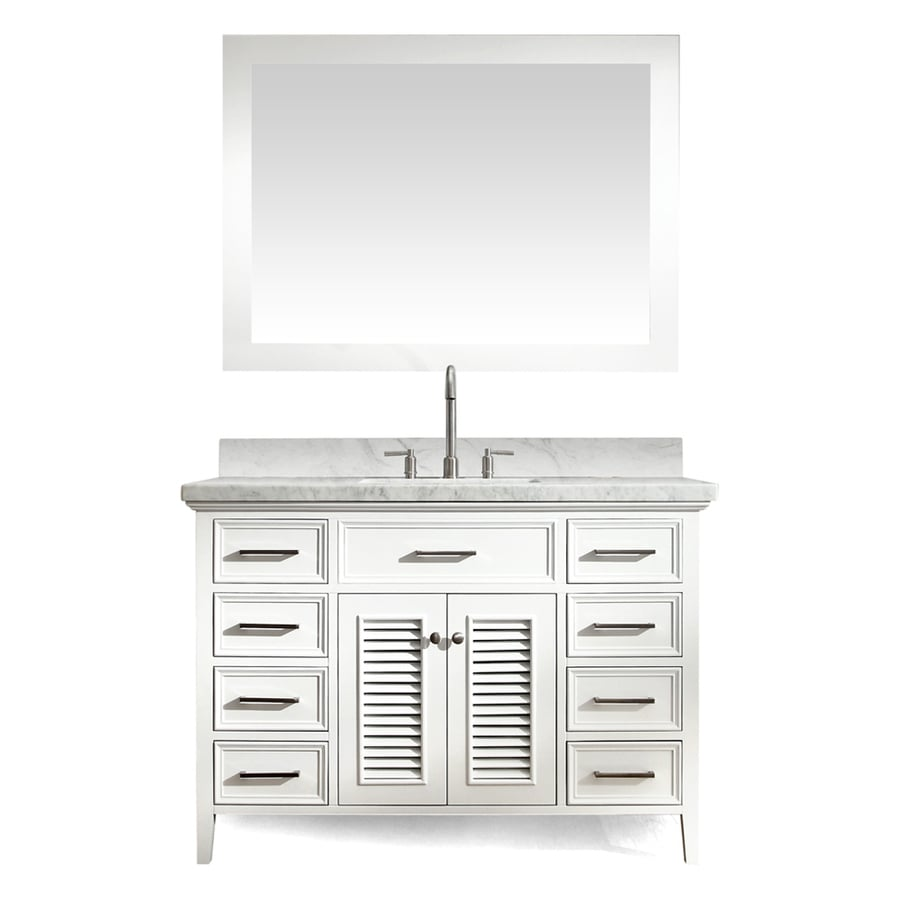 ARIEL Kensington White (Common: 49-in x 22-in) Undermount Single Sink Asian Hardwood Bathroom Vanity with Natural Marble Top (Mirror Included) (Actual: 49-in x 22-in)