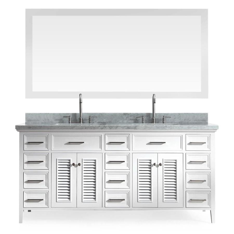ARIEL Kensington White 73-in Undermount Double Sink Asian Hardwood Bathroom Vanity with Natural Marble Top (Mirror Included)