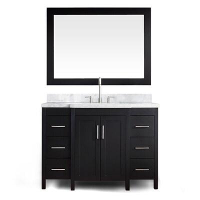 Hollandale 49-in Black Single Sink Bathroom Vanity with White Natural  Marble Top