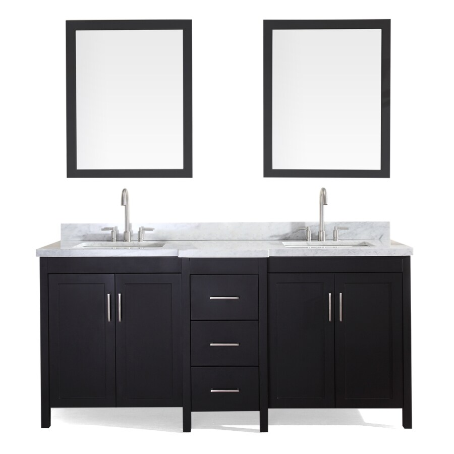 ARIEL Hollandale Black Undermount Double Sink Bathroom Vanity with Natural Marble Top (Common: 73-in x 22-in; Actual: 73-in x 22-in)