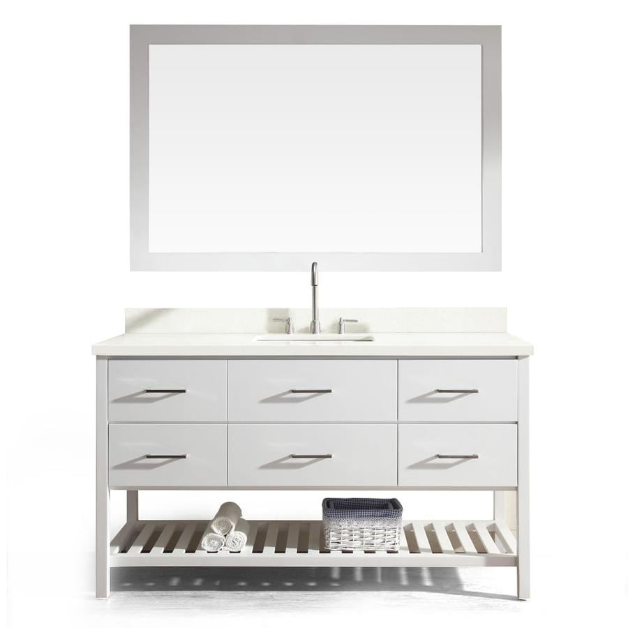 Asian Bathroom Vanity Cabinets Shop Ariel Shakespeare White 61 In Undermount Single Sink Asian