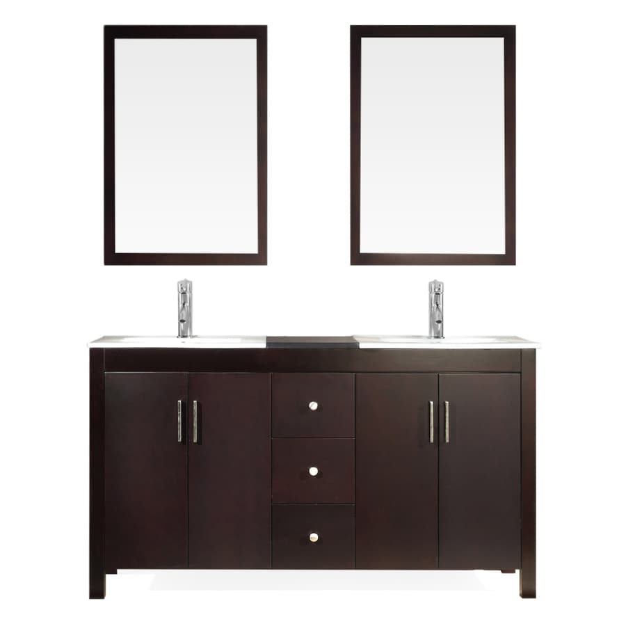 Asian Bathroom Vanity Cabinets Shop Ariel Hanson Espresso 60 In Drop In Double Sink Asian