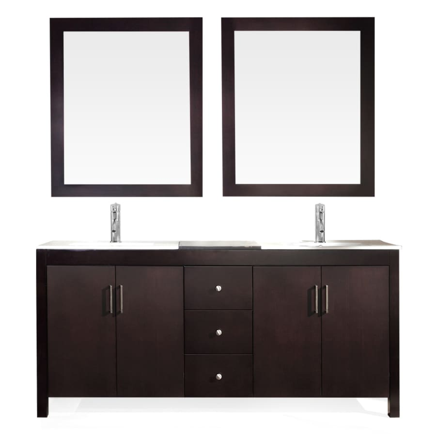 ARIEL Hanson Espresso Drop-In Double Sink Bathroom Vanity with Ceramic Top (Common: 73-in x 19-in; Actual: 73-in x 19-in)