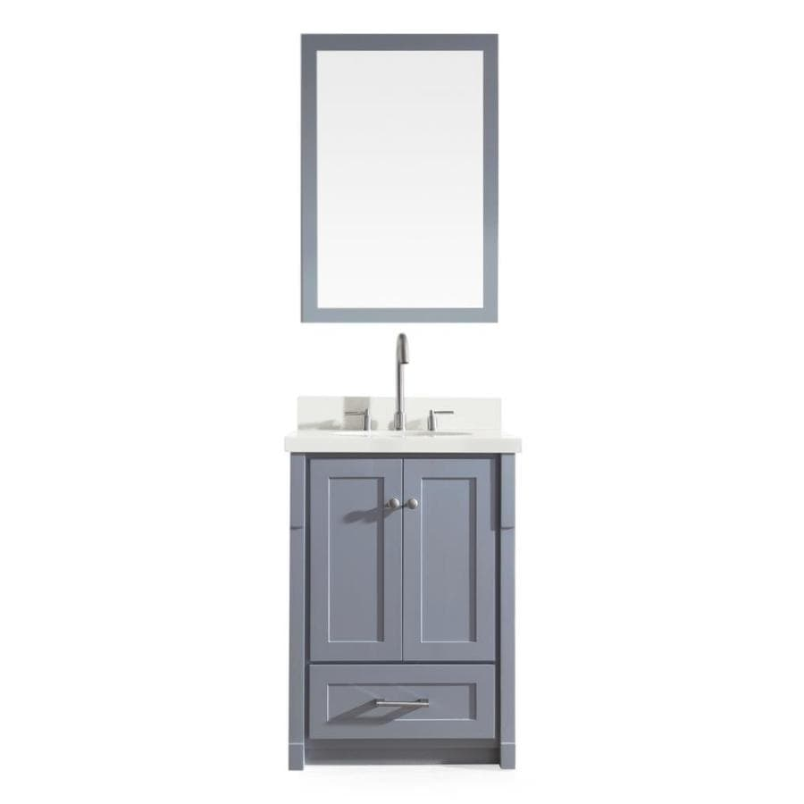 Ariel Adams 25 In Grey Single Sink Bathroom Vanity With