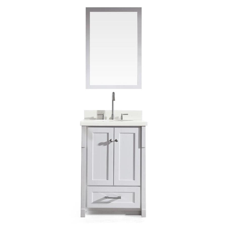 ARIEL Adams White (Common: 25-in x 22-in) Undermount Single Sink Asian Hardwood Bathroom Vanity with Quartz Top (Mirror Included) (Actual: 25-in x 22-in)