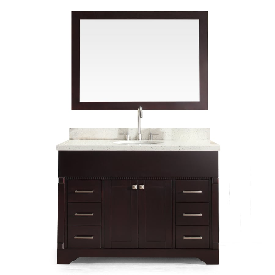 ARIEL Stafford Espresso (Common: 49-in x 22-in) Undermount Single Sink Asian Hardwood Bathroom Vanity with Quartz Top (Mirror Included) (Actual: 49-in x 22-in)