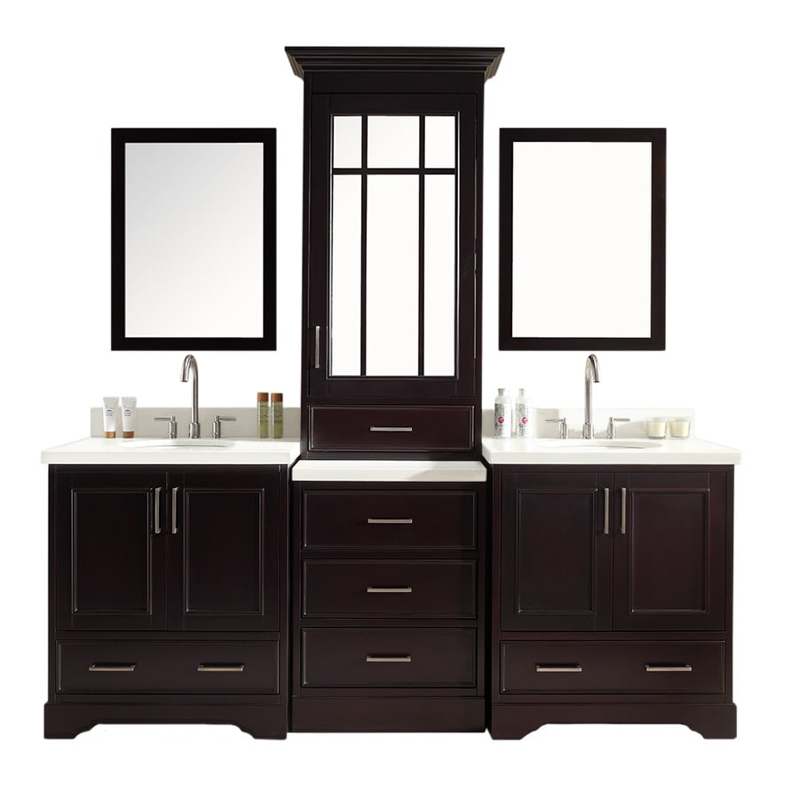 ariel stafford espresso double sink vanity with white quartz top common 85 in - Bathroom Vanities Lowes