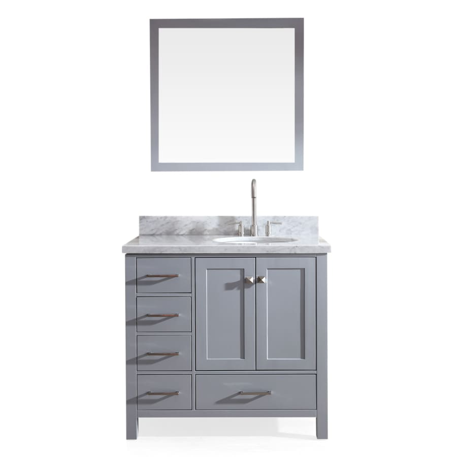 Asian bathroom vanity cabinets - Ariel Cambridge Grey Undermount Single Sink Bathroom Vanity With Natural Marble Top Common 37