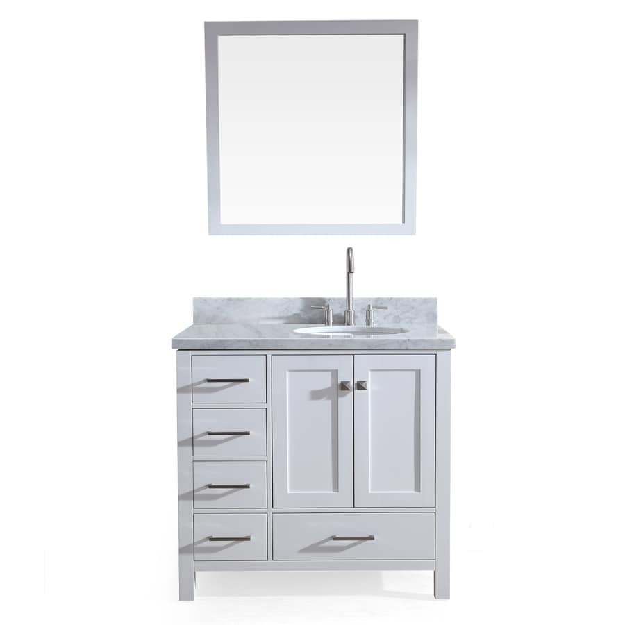 ARIEL Cambridge White 37-in Undermount Single Sink Asian Hardwood Bathroom Vanity with Natural Marble Top (Mirror Included)