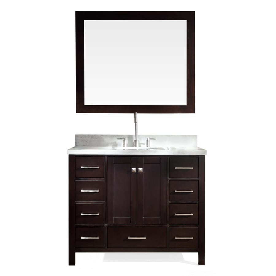 ARIEL Cambridge Espresso 43-in Undermount Single Sink Asian Hardwood Bathroom Vanity with Natural Marble Top (Mirror Included)