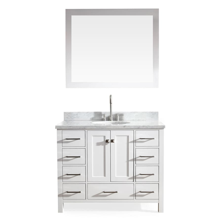 ARIEL Cambridge White 43-in Undermount Single Sink Asian Hardwood Bathroom Vanity with Natural Marble Top (Mirror Included)
