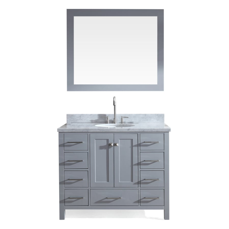 ariel cambridge 43 in grey single sink bathroom vanity with white rh lowes com 43 inch bathroom vanity top with sink 43 inch bathroom vanity top with sink